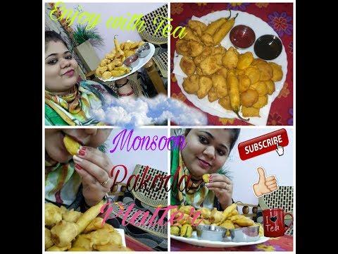 Monsoon special mix pakoda platter - Pakora platter - Veg Indian Fritters - vegetable pakora mix