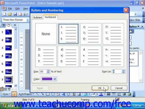 PowerPoint 2003 Tutorial Formatting Bullets & Numbering Microsoft Training Lesson 7.10