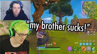 My twin brother Dantdm challenges me at fortnite...