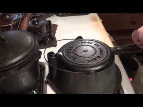 Making waffles in an antique cast iron waffle iron