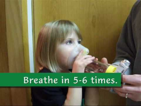 How to give a puffer with spacer and mask to a preschooler.