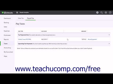 QuickBooks Online Plus 2017 Tutorial Paying Payroll Tax Liabilities Intuit Training
