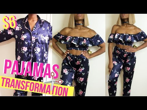 HOW I MADE A 2 PIECE OUTFIT FROM PAJAMAS?! ONLY $6! | Thirfted Transformations