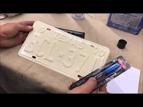license plate restoration part 2 PAINTING THE PLATES