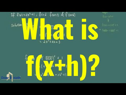 *How to Work with f(x+h), part of Difference Quotient