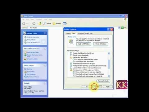 Hide or display file extensions of files in windows
