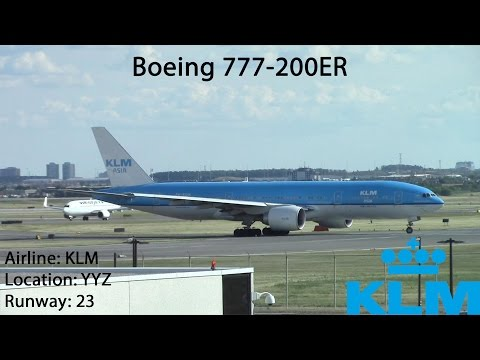 KLM ASIA Boeing 777-200ER Take-off RWY 23 at Toronto Pearson - July 2, 2016