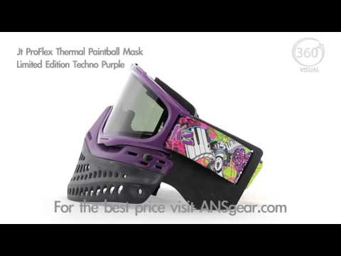 JT ProFlex Thermal Paintball Mask - Limited Edition Techno Purple - Visual 360