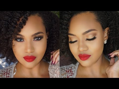 Makeup Tutorial: Classic Red Lips & Soft Golden Eyes | NAPTURALELENORE
