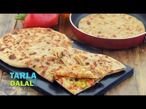 पिज़्जा पराठा - Pizza Paratha Recipe by Tarla Dalal
