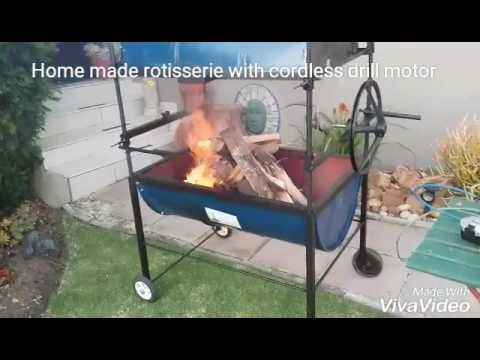 Home made rotisserie with cordless drill motor.