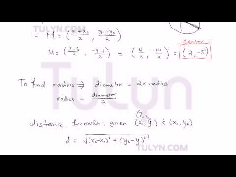 finding the equation of a circle given diameter 2