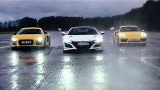 Honda NSX vs Audi R8 V10 vs Porsche 911 Turbo - Chris Harris Drives - Top Gear
