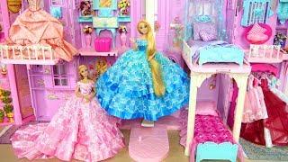 Princess Barbie Rapunzel Pink Purple Castle All Day Routine! Morning to Night Putri Barbie Castelo