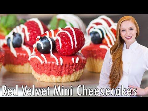 Mini No Bake Red Velvet Cheesecakes