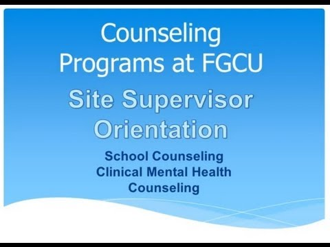 FGCU Counseling Internship Site Supervisor Orientation