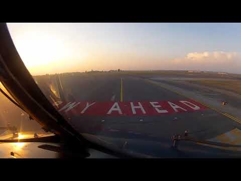 [COCKPIT] View taxing and takeoff runway 25 at FCO Rome Fiumicino airport