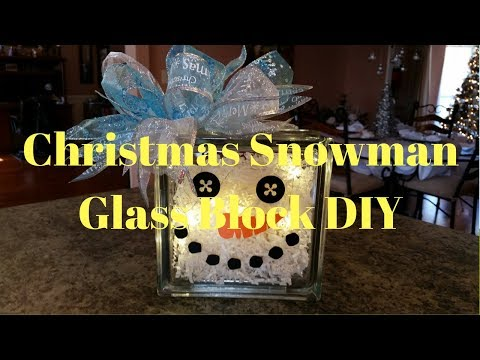 Christmas Snowman Glass Block DIY
