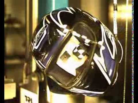 Slow-motion motorcycle helmet & HUD crash test - side impact