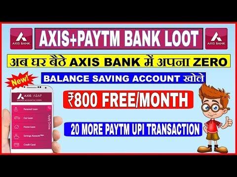 Earn Rs.800 Every Month | Open Axis Zero Balance Saving Bank Account | Axis Asap 2018