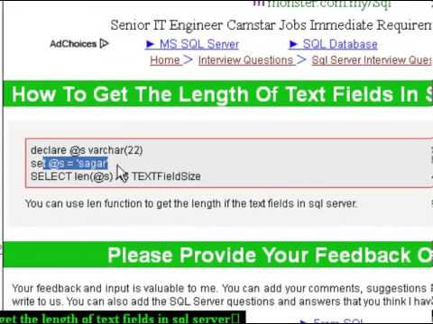 How to get the length of text fields in sql server