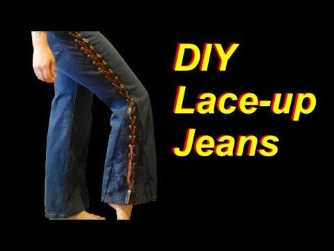 DIY Lace Up Jeans