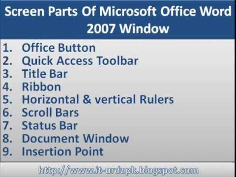 Urdu Tutorials:Screen Parts Of Microsoft Office Word 2007
