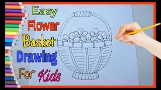 How To Draw Flower Basket Step By Step   Easy Drawing