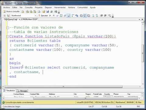 Manejo de Funciones en SQL Server 2008