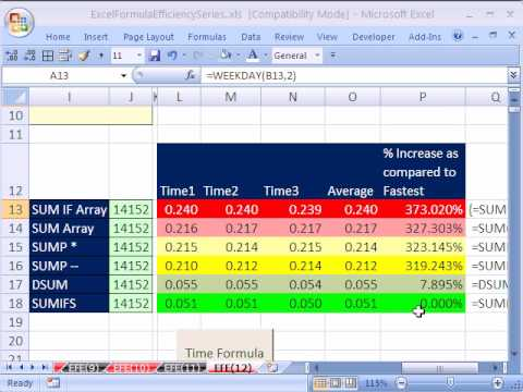 Excel Formula Efficiency 12: Fastest Formula In Excel