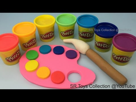 DIY How to make Play Doh Rainbow Colours Paint and Palette Fun Creative for Kids