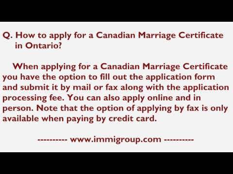 How To Apply For A Canadian Marriage Certificate In Ontario?