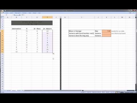 Excel Statistics Variance