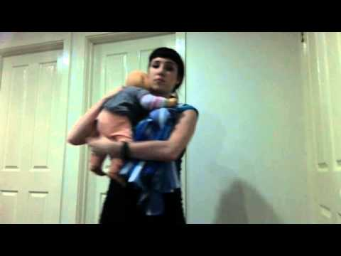 How to traditional sling carry with half a woven cotton tablecloth - budget baby wearing.