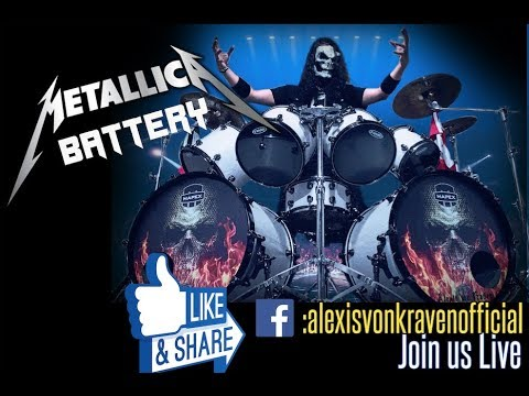 Battery drum cover ( Metallica) by Alexis Von Kraven with Lars' white drumset