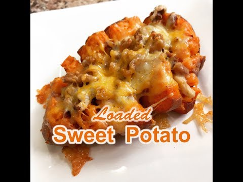 Savory Loaded Sweet Potato Recipe With Walnuts and Bacon  | Rockin Robin Cooks