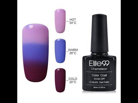 Elite99 UV LED Temperature Colour Changing Gel Polish Soak Off Chameleon Nail Varnish Video Tutorial