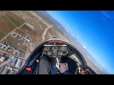 K13 Glider POV Short Flight - Winch Launch & Landing - GoPro Pilot's View Full Cockpit Flight