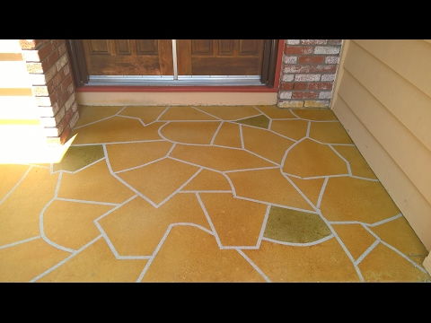 Refinish old concrete porch/step/patio with new concrete stain and faux stone pattern