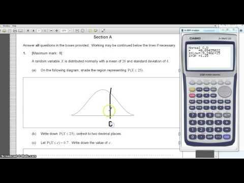 IB Maths Standard, normal distribution CASIO 9860 calculator