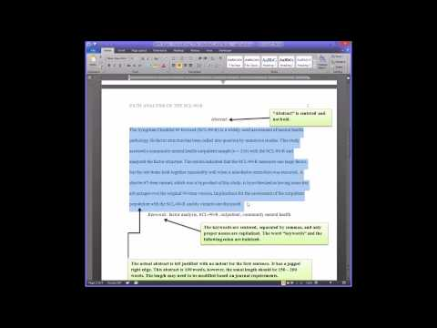 APA Style - Formatting the Title Page, Abstract, and Body
