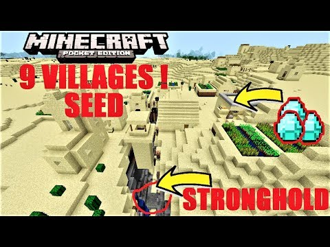 Minecraft PE - NEW BEST STRONGHOLD IN RAVINE w/ 9 VILLAGES SEED, DIAMONDS & MORE ! MCPE 1.2.8