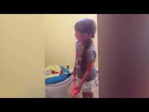 Little Girl Says Goodbyes To Her Toilet. II فتاه تودع المرحاض الخاص بها II