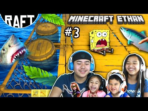 LET'S GET OUR BUILD ON! | RAFT Game play #3 w/ Minecraft Ethan, Emma, Aubrey & Aaron
