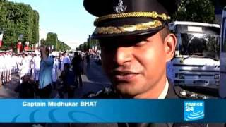 Indian army open the military march down the Champs Elysees