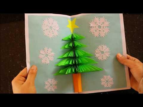 3D  Pop up Card With Christmas Tree - DIY  Xmas Paper  Craft