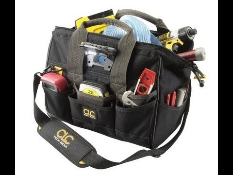 Custom Leathercraft L230 14-Inch 29 Pocket Tech Gear Lighted Big Mouth Tool Bag