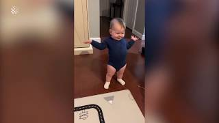 This baby has the most ADORABLE 'conversation' with her dad. | Funny Baby Talking