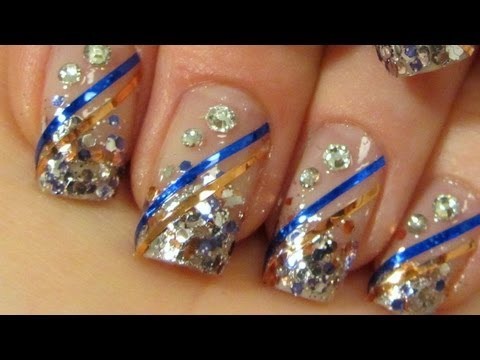 Blingy Bollywood Princess Design in Copper, Blue and Silver Nail Art Tutorial