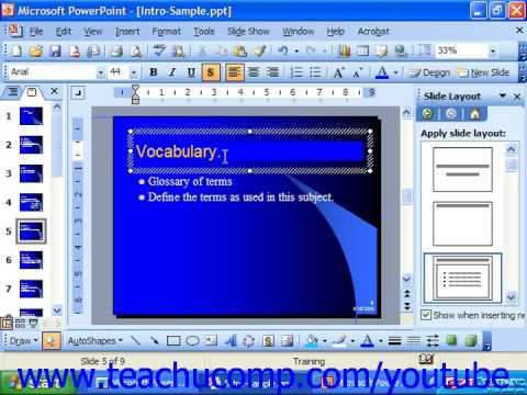 PowerPoint 2003 Tutorial Setting Style Options Microsoft Training Lesson 8.4